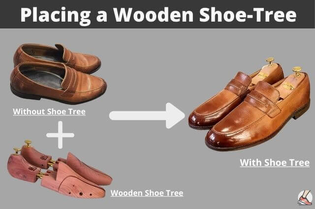 how to not crease shoes(placing the wooden tree)